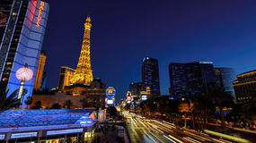 Las Vegas, NV - CIRCA MARCH 2015 - Night illumi along The Strip and Eiffel Tower in Las Vegas, Nevada, circa March 2015 Stock Photography