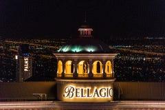 Las Vegas, NV, de V.S. 09032018: NACHTmening van de Bellagio KOEPEL stock afbeeldingen