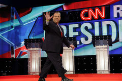 LAS VEGAS, NV, Dec 15, 2015, NJ Gov. Chris Christie a 2016 presidential candidate, waves on stage at the start of the Republican p Stock Photo