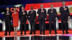 LAS VEGAS, NV - DECEMBER 15: Republican presidential candidates (L-R) John Kasich, Carly Fiorina, Sen. Marco Rubio, Ben Carson, Do. Nald Trump, Sen. Ted Cruz stock images