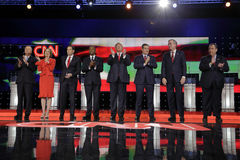 LAS VEGAS, NV - DECEMBER 15: Republican presidential candidates (L-R) John Kasich, Carly Fiorina, Sen. Marco Rubio, Ben Carson, Do Royalty Free Stock Photos