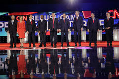 LAS VEGAS, NV - DECEMBER 15: Republican presidential candidates (L-R) John Kasich, Carly Fiorina, Sen. Marco Rubio, Ben Carson, Do. Nald Trump, Sen. Ted Cruz stock image
