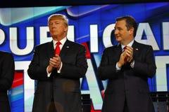 LAS VEGAS, NV - DECEMBER 15: Republican presidential candidates US Senator Ted Cruz and Donald J. Trump clap at CNN republican pre royalty free stock images