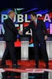 LAS VEGAS, NV - DECEMBER 15: Republican presidential candidates US Senator Ted Cruz and Donald J. Trump shake hands at CNN republi Royalty Free Stock Photography