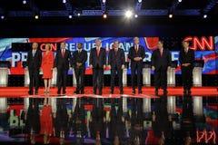 LAS VEGAS NV - DECEMBER 15: Republikanska presidentkandidater (L-R) John Kasich, Carly Fiorina, Sen Marco Rubio Ben Carson, gör Arkivfoton