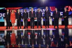 LAS VEGAS, NV - 15 DECEMBER: Republikeinse presidentiële kandidaten (L-R) John Kasich, Carly Fiorina, Sen Marco Rubio, Ben Carson stock afbeelding