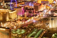 LAS VEGAS, NV - JUNE 29, 2018: Aerial night view of city streets. Las Vegas is known as the Sin City, City of Lights, Gambling stock photo
