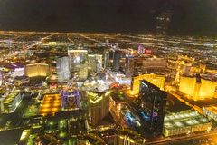 LAS VEGAS, NV - JUNE 29, 2018: Aerial night view of main city Casinos. Las Vegas is known as the Sin City, City of Lights, royalty free stock photo
