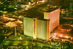 LAS VEGAS, NV - JUNE 29, 2018: Circus Circus Casino night aerial view. Las Vegas is known as the Sin City, City of Lights, stock photography