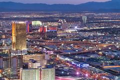 LAS VEGAS, NV - JUNE 29, 2018: Circus Circus Casino night aerial view. Las Vegas is known as the Sin City, City of Lights, royalty free stock images