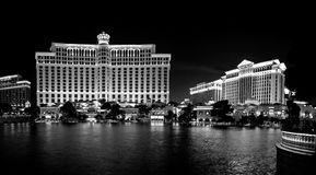 A fountain pool in front of Bellagio and Caesar hotels. LAS VEGAS, NV - JUNE 12, 2013: A large fountain pool in front of Bellagio and Caesar hotels on June 12 royalty free stock image