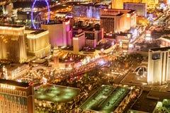 LAS VEGAS, NV - 29 JUNI, 2018: Luchtnachtmening van stadsstraten Las Vegas is genoemd geworden Sin City, Stad van Lichten, het Go stock foto