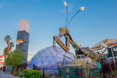Free LAS VEGAS, NV - NOVEMBER 21, 2016: Giant Praying Mantis Sculpture In Front Of Container Park In Downtown Las Vegas The Stock Photography - 93714662
