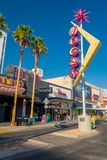 LAS VEGAS, NV - NOVEMBER 21, 2016: Fremont Street with a vegas Sign in ablue sky Stock Images
