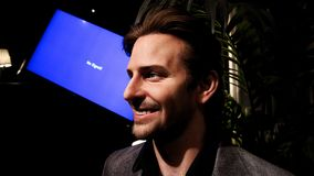 Bradley Charles Cooper wax figure. LAS VEGAS NV - Oct 09 2017: Bradley Charles Cooper wax figure with movie set from HANGOVER movie at Madame Tussauds museum in Royalty Free Stock Photos