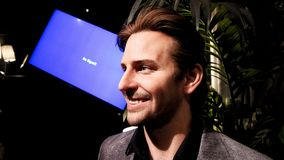 Bradley Charles Cooper wax figure. LAS VEGAS NV - Oct 09 2017: Bradley Charles Cooper wax figure with movie set from HANGOVER movie at Madame Tussauds museum in Stock Photography