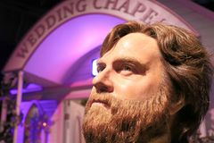 Zach Galifianakis wax figure with movie set. LAS VEGAS NV - Oct 09 2017: Zach Galifianakis wax figure with movie set from HANGOVER movie at Madame Tussauds Royalty Free Stock Photography