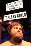 Zach Galifianakis wax figure with movie set. LAS VEGAS NV - Oct 09 2017: Zach Galifianakis wax figure with movie set from HANGOVER movie at Madame Tussauds Royalty Free Stock Image