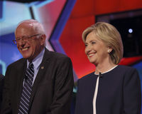 LAS VEGAS, NV - OCTOBER 13 2015: CNN Democratic presidential debate features candidates Sen. Bernie Sanders, Hillary Clinton laugh Royalty Free Stock Photos