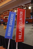 LAS VEGAS, NV - OCTOBER 13, 2015 - CNN Democratic presidential debate shows Bernie Sanders and Hillary Clinton Signs at Wynn Las V Royalty Free Stock Photography