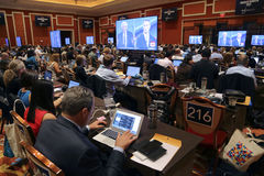 LAS VEGAS, NV - OCTOBER 13: Democratic presidential debate press filing room where media filing news stories for 2016 Presidential Stock Images