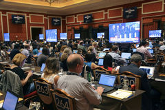 LAS VEGAS, NV - OCTOBER 13: Democratic presidential debate press filing room where media filing news stories for 2016 Presidential. Election, Wynn, Las Vegas Royalty Free Stock Photo
