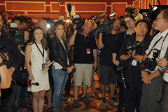 LAS VEGAS, NV - OCTOBER 13: Democratic presidential debate spin room where photographers and videographers are waiting to intervie Royalty Free Stock Photo