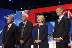 LAS VEGAS, NV - OCTOBER 13 2015: (L-R) Democratic presidential debate features candidates Jim Webb, Sen. Bernie Sanders, Hillary C Royalty Free Stock Photos