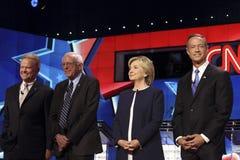 LAS VEGAS, NV - OCTOBER 13 2015: (L-R) Democratic presidential debate features candidates Jim Webb, Sen. Bernie Sanders, Hillary C Royalty Free Stock Images