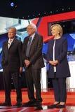 LAS VEGAS, NV - OCTOBER 13 2015: (L-R) Democratic presidential debate features candidates Jim Webb, Sen. Bernie Sanders, Hillary C Stock Photo