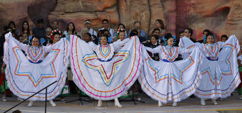 LAS VEGAS, NV - OCTOBER 14, 2015: Mariachi Band and Mexican-American Dancers perform at HillaryClinton for America Nevada Presiden Royalty Free Stock Image