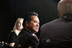 LAS VEGAS, NV - PAŹDZIERNIK 13 2015: CNN Demokratyczna prezydencka debata uwypukla Vegas rozrywki ikonę i legendę, Wayne traszka Obrazy Royalty Free