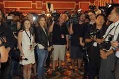 LAS VEGAS, NV - PAŹDZIERNIK 13: Demokratyczny prezydencki debata wiru pokój dokąd fotografowie i videographers czekają intervie Zdjęcie Royalty Free