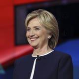 LAS VEGAS, NV - PAŹDZIERNIK 13 2015: (L-R) Demokratyczna prezydencka debata uwypukla kandydat poprzedniej sekretarki stan i U S S obraz stock