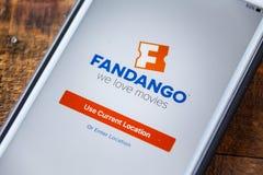 LAS VEGAS, NV - September 22. 2016 - Fandango Movie App On Apple. IPhone Screen. Splash Screen Display. Selective Focus Stock Photos