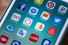 LAS VEGAS, NV - September 22. 2016 - Fandango Movie App Icon On. Apple iPhone Screen. Selective Focus Stock Images