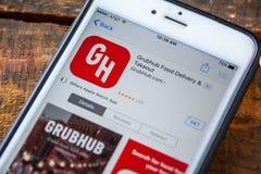 LAS VEGAS, NV - 22 September 2016 - Grubhubiphone App in A Stock Fotografie