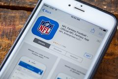 LAS VEGAS, NV - September 22. 2016 - NFL Fantasy Football iPhone Royalty Free Stock Photo