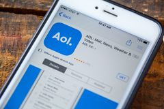 LAS VEGAS, NV - 22 September 2016 - Online iPhone van AOL Amerika Royalty-vrije Stock Fotografie