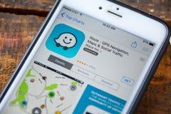 LAS VEGAS NV - September 22 2016 - Waze GPS iPhone App i Arkivbild