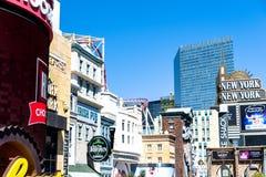 Las Vegas NV, USA 09032018: bedöva sikten av remsan i morgonen royaltyfria bilder