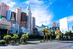 Las Vegas NV, USA 09032018: dagsikt av remsan främst New York New York arkivbild