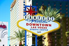 Fanfest Downtown Las Vegas sign royalty free stock image