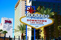 Fanfest Downtown Las Vegas sign royalty free stock photos