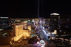 Las Vegas, NV, usa 09032018: NOC widok pasek z najwięcej dziejowi hotele z główną ostrością na Cosmo i PH, obrazy stock