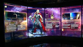 Screen in the Thor room at the Avengers Station complex. LAS VEGAS, NV, USA - SEP 20, 2017: Screen in the Thor room at the Avengers Station complex in Las Vegas Stock Photo