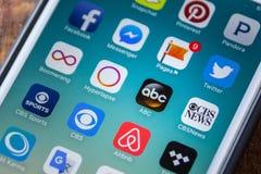 LAS VEGAS, NV - Wrzesień 22 2016 - ABC App ikona Na Jabłczanym iPhon Zdjęcie Royalty Free