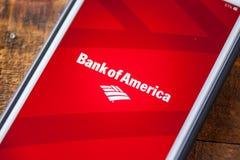LAS VEGAS, NV - Wrzesień 22 2016 - Bank Amerykański App Na Appl Obraz Stock