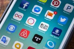 LAS VEGAS, NV - Wrzesień 22 2016 - CBS wiadomości App ikona Na Apple Obrazy Stock
