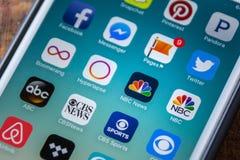LAS VEGAS, NV - Wrzesień 22 2016 - NBC wiadomości App ikona Na Apple Zdjęcia Stock